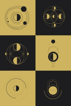 geometric background templates circles decor dark retro design