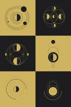 geometric background templates circles decor dark retro design
