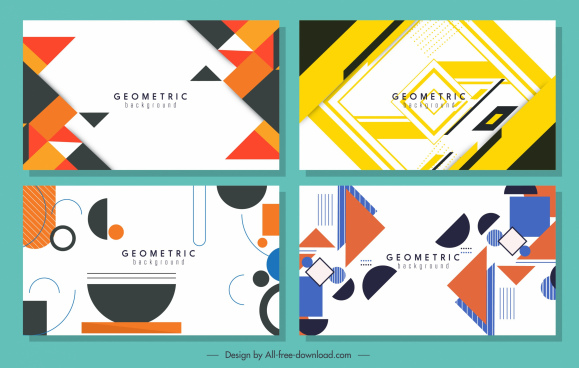 geometric background templates flat colorful decor