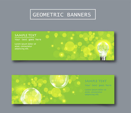 geometric banners with bokeh green background