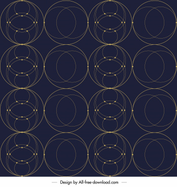 geometric circles pattern template dark symmetric decor