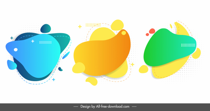 geometric decorative elements modern colored bright deformed shapes