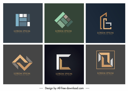 geometric logo templates modern colored flat design