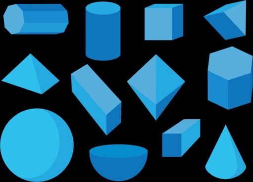 geometric objects collection 3d blue design