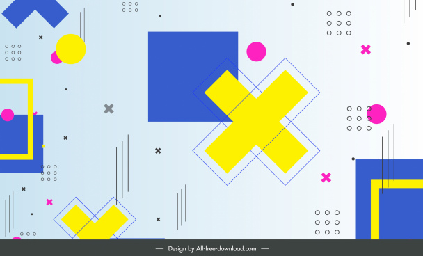 geometric pattern template modern colorful flat shapes