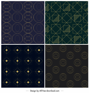 geometric pattern templates dark decor symmetric design