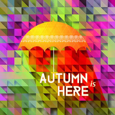 geometric polygonal with autumn background vector