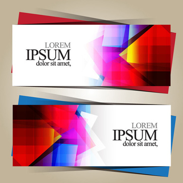 geometric shapes colored business cards vector