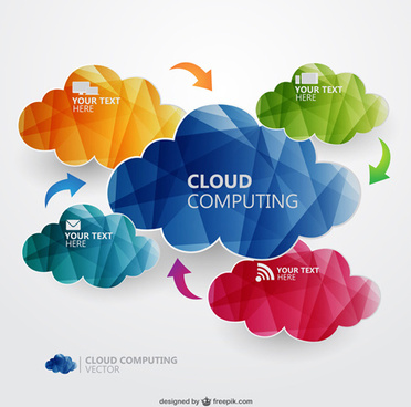 geometric shapes colored text clouds vector