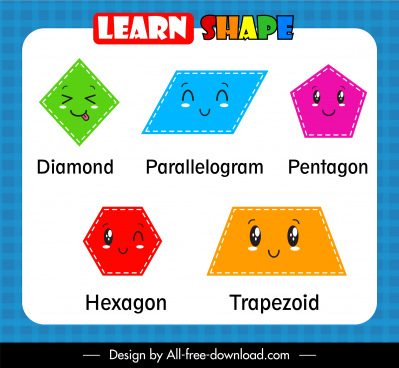 geometric shapes educational template cute stylized faces
