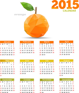 geometric shapes fruits with15 calendar vector
