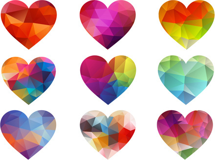 geometric shapes heart icons vector