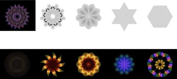 geometric shapes icons illustrated with kaleidoscope pattern