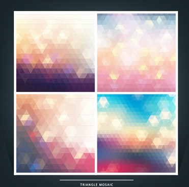 geometric shapes mosaic background vector set