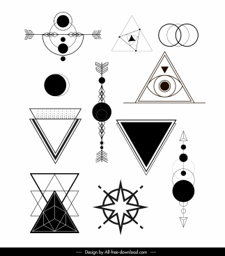 geometric tattoo templates black white modern traditional shapes