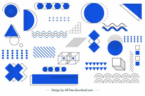 geometrical background classic handdrawn design elements sketch