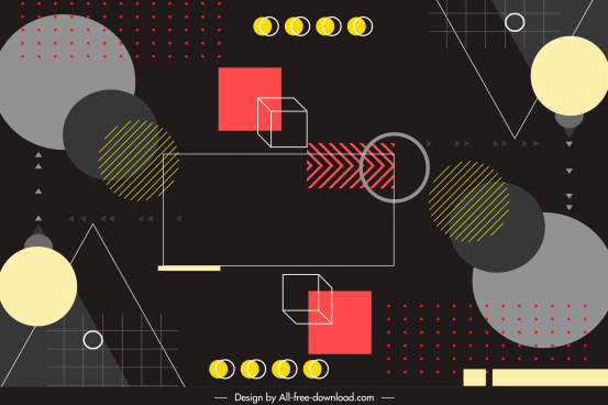 geometry background dark colorful elements sketch