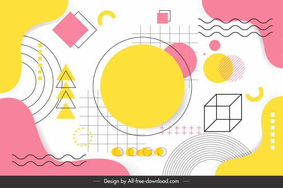 geometry background template colored flat 3d sketch