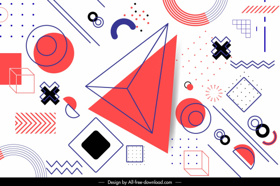 geometry background template colored handdrawn flat 3d sketch