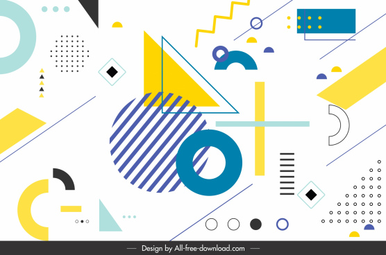 geometry background template colorful flat shapes