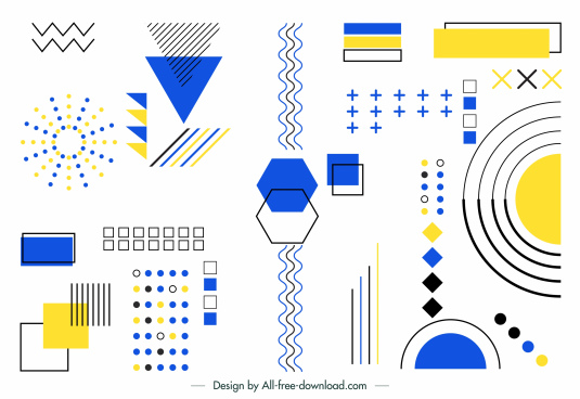 geometry design elements background colorful flat shapes sketch