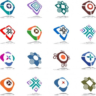geometric icons collection modern colorful 3d symmetric sketch
