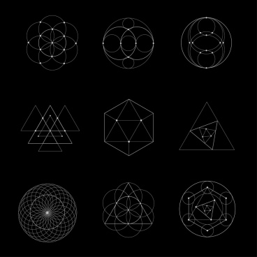 geometry icons outline dark design