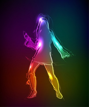 dancing background lady motion sketch colorful light effect