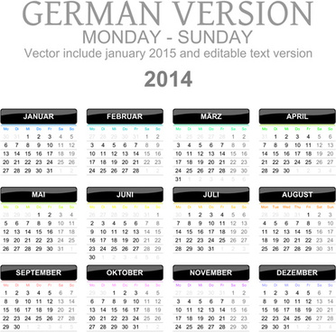 german version calendar14 vector set