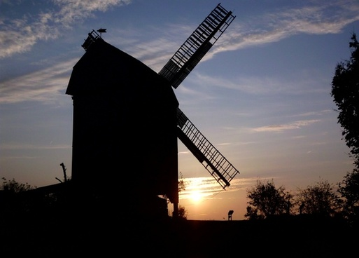 germany sunset windmill