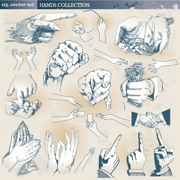 hands gestures icons classical handdrawn sketch