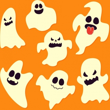 ghost background funny classical icons white orange decor