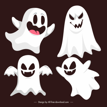ghost icons funny dynamic sketch cartoon characters