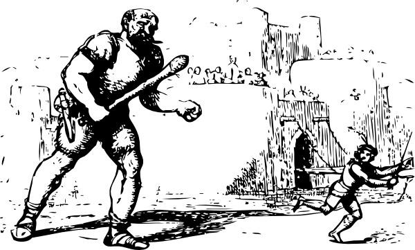 Giant Chases Jack clip art