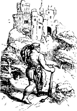 Giant Going To Castle clip art