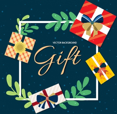 gift background decorated box leaf decoration square layout