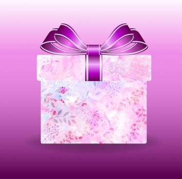 gift box background flowers ornament violet design