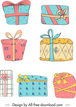gift box icons colorful flat classical sketch
