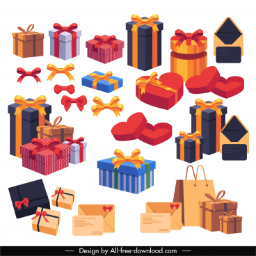 gift box icons modern colorful 3d sketch