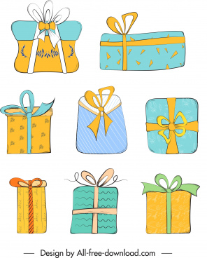 gift box icons multicolored flat classic handdrawn sketch