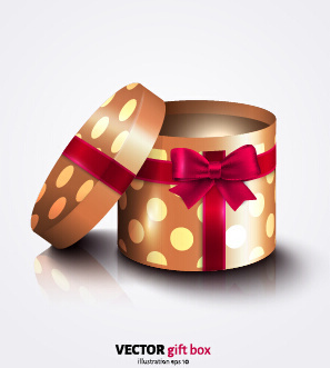 gift box with red bow vector illustration