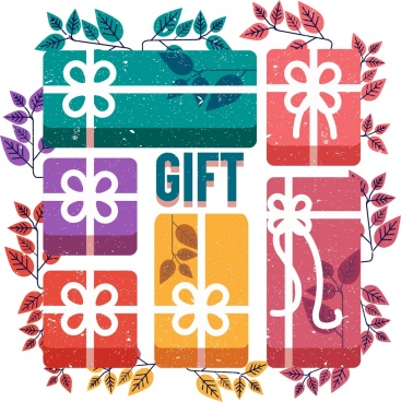 gift boxes background colorful retro design leaves ornament