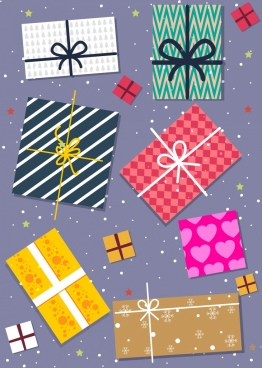 gift boxes background multicolored flat decoration