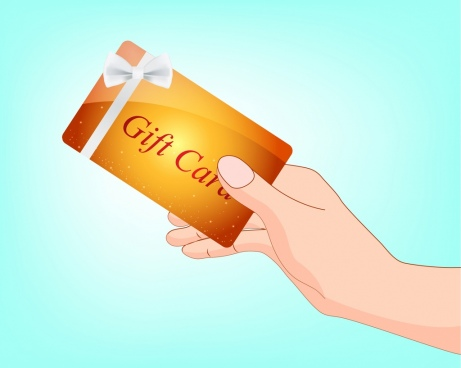 gift card background hand icon bright sparkling design