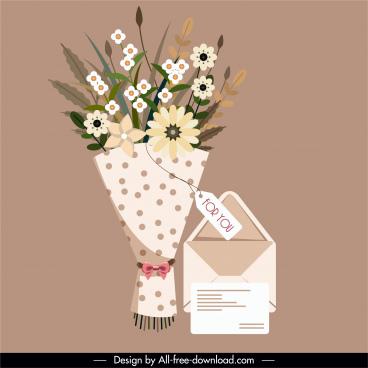 gift card design elements elegant classic bouquet sketch