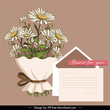 gift card design elements floral bouquet envelope sketch
