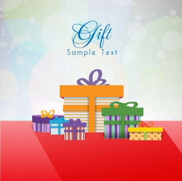 gift card template bokeh background present boxes icons