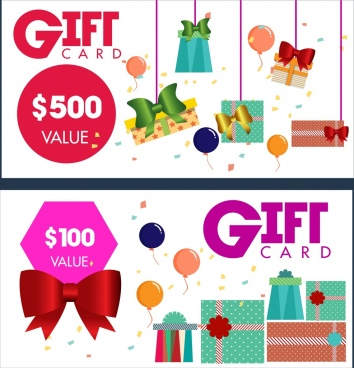 gift card templates present box bows icons decoration