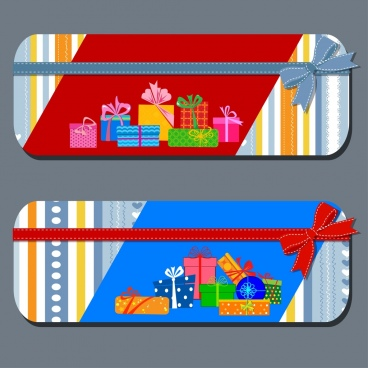 gift card templates present box icons ribbon ornament