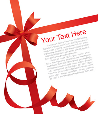 gift card with red ribbons design vector